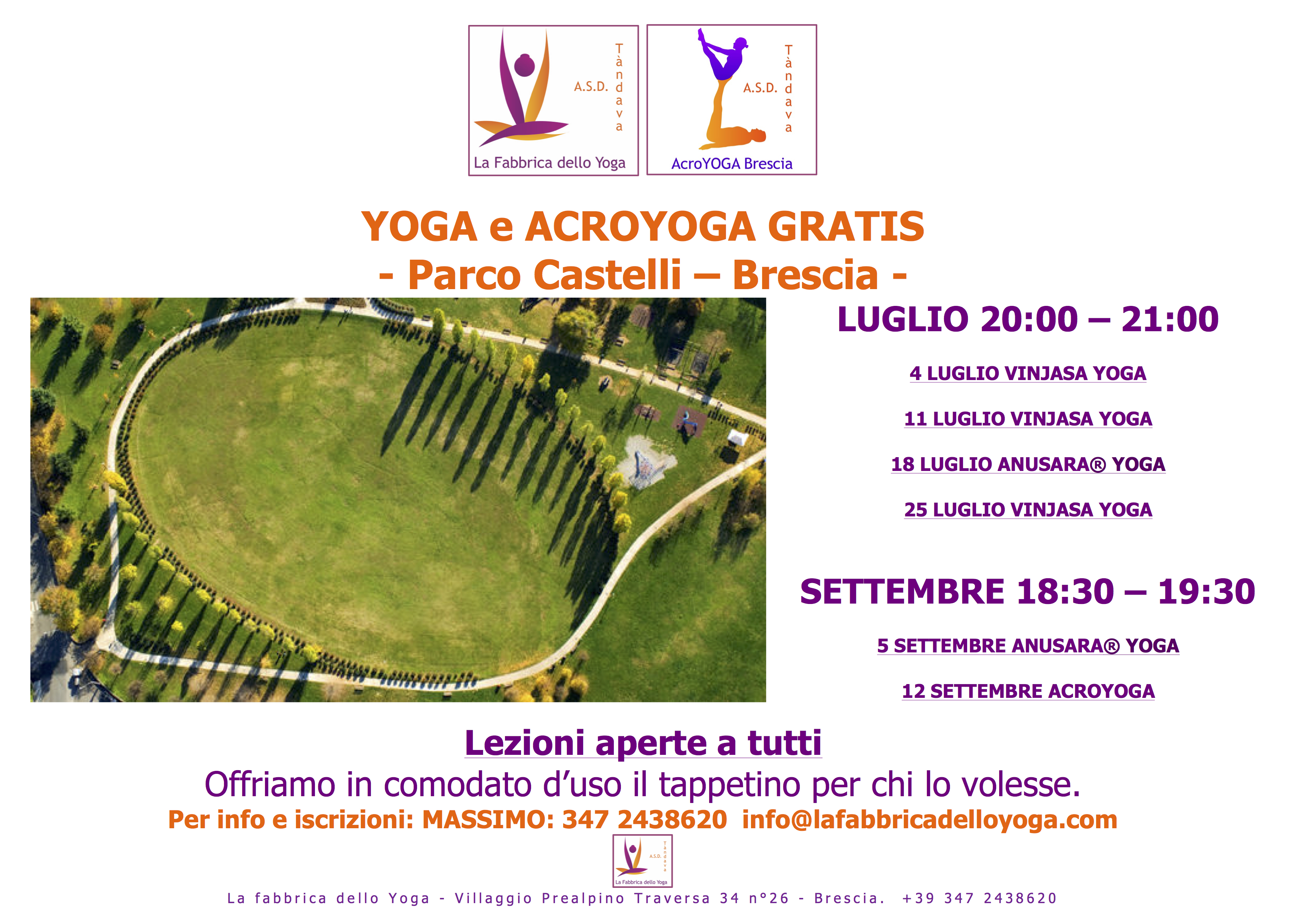locandina yoga al parco castelli